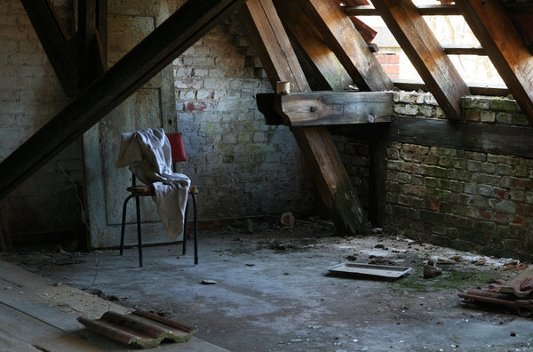 scary attic with junk