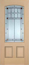 JELD-WEN 7201A Authentic Wood Glass Panel Exterior Door
