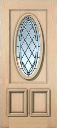 JELD-WEN 7208M Authentic Wood Glass Panel Exterior Door