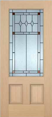 JELD-WEN 7201 Authentic Wood Glass Panel Exterior Door