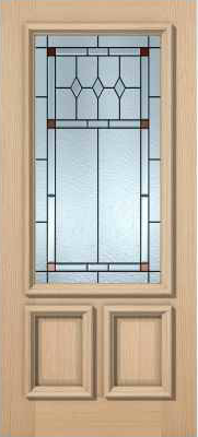 JELD-WEN 7201M Authentic Wood Glass Panel Exterior Door