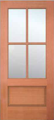 JELD-WEN 5104 Authentic Wood Glass Panel Exterior Door