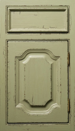 Plain and Fancy Cabinets Arch Raised panel- Mayfair Maple in Pasture Green Brushmark Crackle