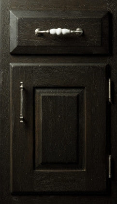 Plain and Fancy Cabinets Square Raised panel- Cloister Special Quarter Sawn Red Oak in Ebony Dry Brush Glaze