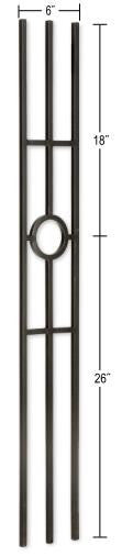 L.J.  Smith - Stair part  LI-41144 Single Ring Medallion Panel Baluster (Solid)