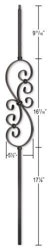 L.J.  Smith - Stair part  LI-50144 Small Scroll Baluster (Solid)