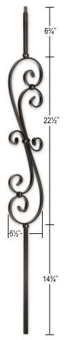 L.J.  Smith - Stair part  LI-60144 Skinny Scroll Baluster (Solid)