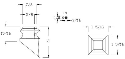 "L.J.  Smith - Stair part  LI-ALPSH02 — Pitch Shoe for 1/2"" Square Iron Balusters"