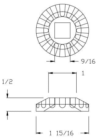 "L.J.  Smith - Stair part  LI-M020 — Round Shoe for 1/2"" Square Iron Balusters"