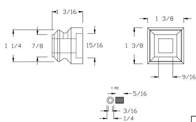 "L.J.  Smith - Stair part  LI-M06 — Flat Shoe for 1/2"" Square Iron Baluster"