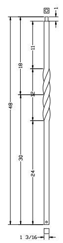 L.J.  Smith - Stair part  LI-NWLTW48 — Single Twist Iron Newel