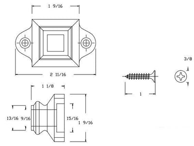"L.J.  Smith - Stair part  LI-SCR04 — Flat Shoe for 1/2"" Square Iron Baluster"