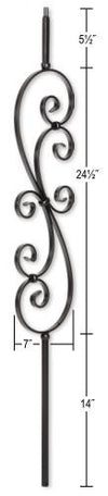 L.J.  Smith - Stair part  LIH-HOL30144 Large Scroll Baluster (Hollow)