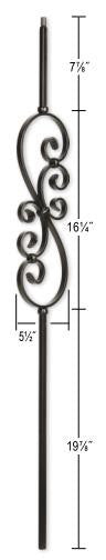 L.J.  Smith - Stair part  LIH-KW50144 Kneewall Small Scroll Baluster (Hollow)