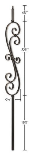 L.J.  Smith - Stair part  LIH-KW60144 Kneewall Skinny Scroll Baluster (Hollow)