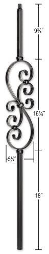 L.J.  Smith - Stair part  LIH-MG50144 Mega Small Scroll Baluster (Hollow)
