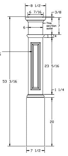 L.J.  Smith - Stair part  LJ-4095 — Raised Panel Box Newel