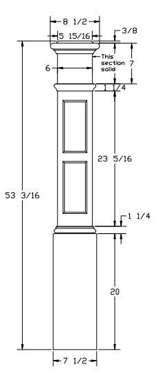 L.J.  Smith - Stair part  LJ-4097 — Rectangle Inlay Box Newel