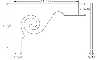 L.J.  Smith - Stair part  LJ-7029 — Scroll Stair Bracket