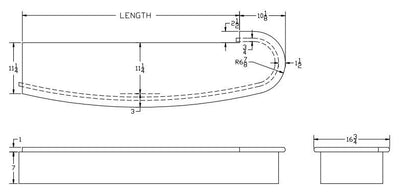 L.J.  Smith - Stair part  LJ-8210 — Bowed Single Bullnose Starting Step