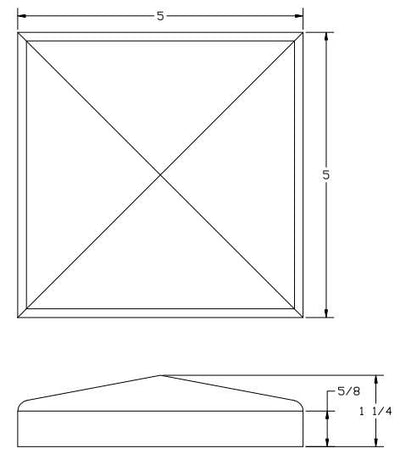 L.J.  Smith - Stair part  LJ-9001 — Chamfered Top Plate for Box Newels