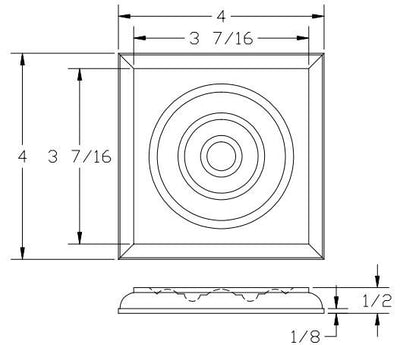 L.J.  Smith - Stair part  LJ-9100 — Rosette Block for Box Newels