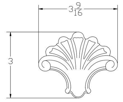 L.J.  Smith - Stair part  LJ-9103 — Fan Embossed Carving for Box Newels