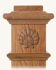 L.J.  Smith - Stair part  LJ-9105 — Shell Embossed Carving for Box Newels