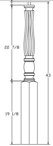 L.J.  Smith - Stair part  LJF-3310 — Challis Shortest Utility Fluted Newel