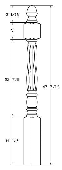 L.J.  Smith - Stair part  LJF-3340 — Challis Shortest Utility Fluted Newel