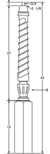 L.J.  Smith - Stair part  LJT-3010 — Shortest Utility Twisted Newel