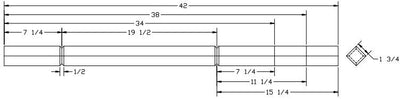 "L.J.  Smith - Stair part  LJ-5360V — 1 ¾"" Square V-Groove Baluster"