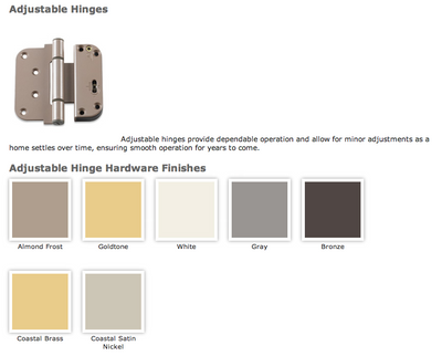 Integrity door hinge finish colors