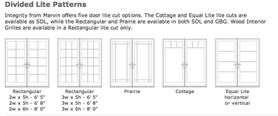 Integrity door divided light layouts