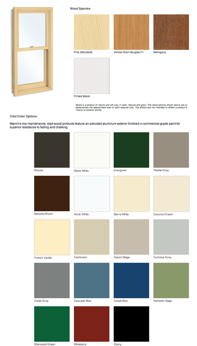 Marvin exterior finish colors
