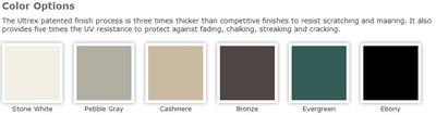 Integrity awning exterior window colors