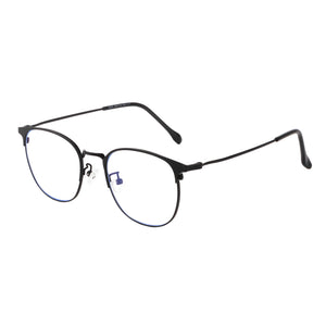 Round Metal Frames Clean Lens Anti Blue Light Myopia Glasses- 9203