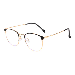 Round Metal Frames Clean Lens Anti Blue Light Reading Glasses- 9203