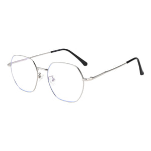 Round Metal Frames Clean Lens Anti Blue Light Myopia Glasses- 9217