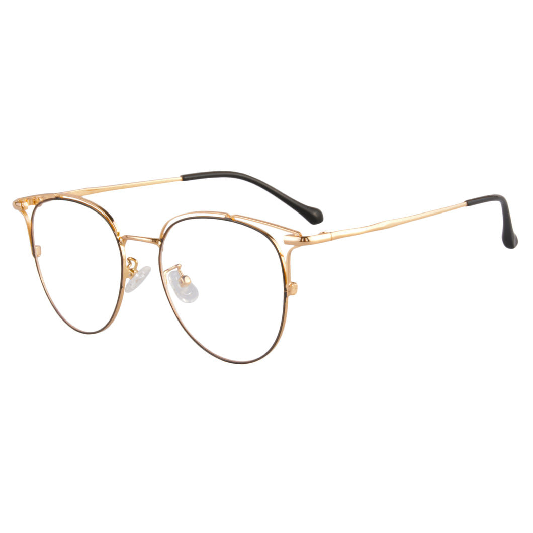 Round Metal Frames Clean Lens Anti Blue Light Reading Glasses- S11138