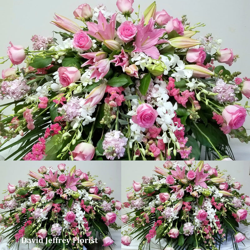 Casket Spray Cascading Pink and White