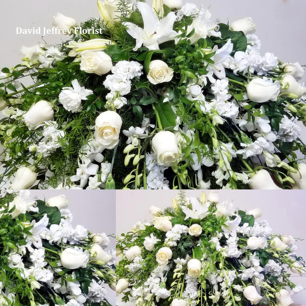 Casket Spray Seasonal White Floral
