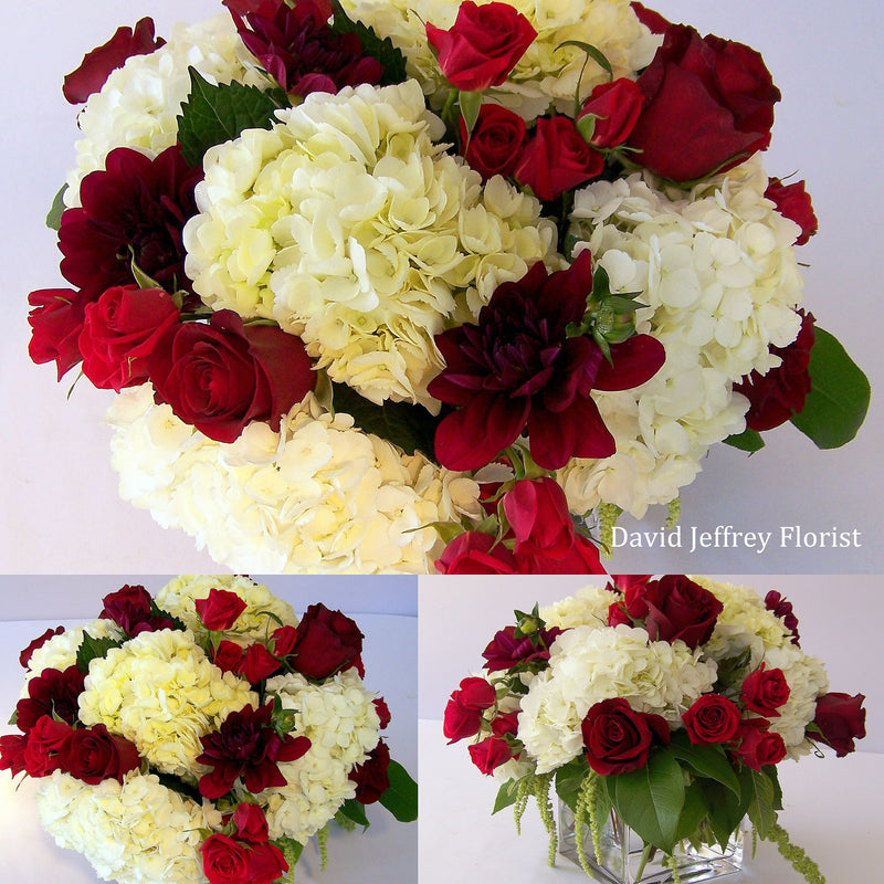 Flower Cube Bouquets - Burgundy White