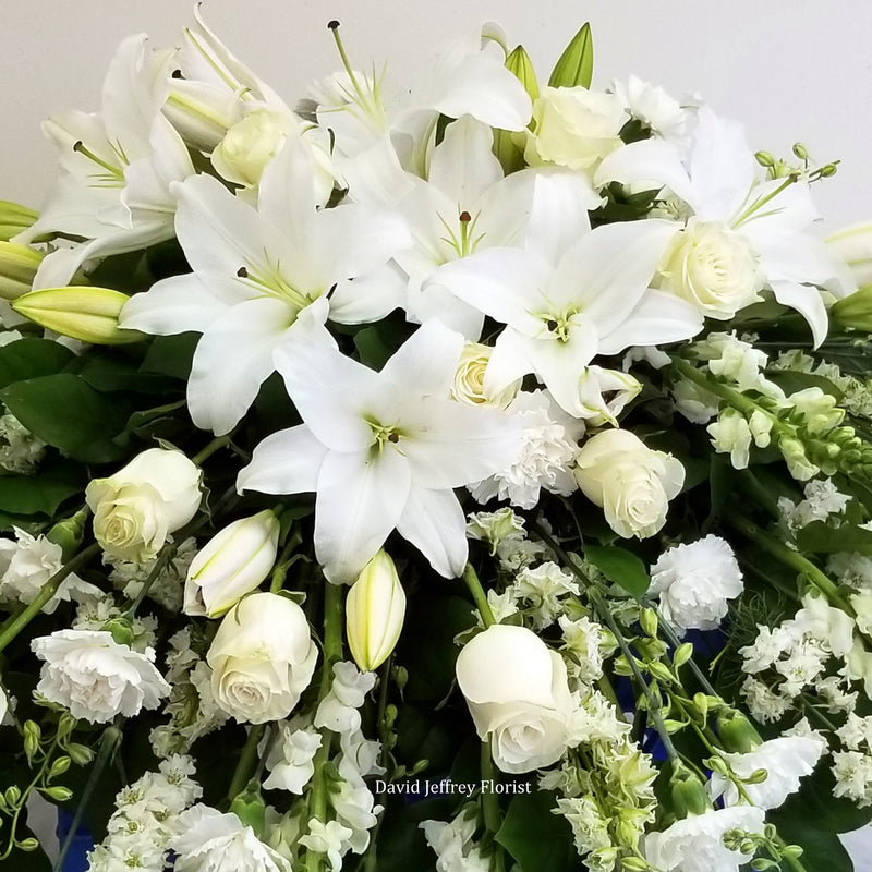 Casket Spray White Casa Blanca Lilies and Roses