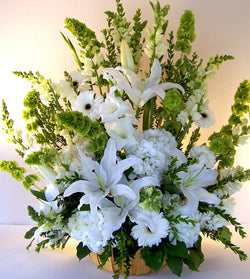 White Tribute Flowers by David Jeffrey Florist