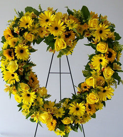 Standing Spray Yellow Heart Wreath