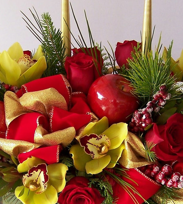 Christmas Centerpiece with Green Orchids