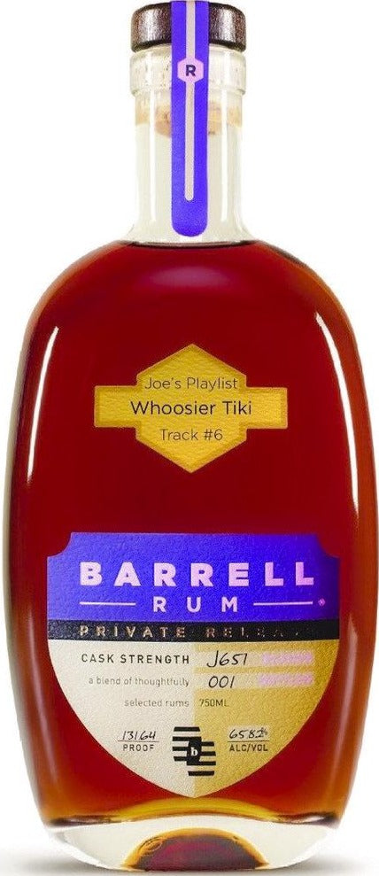 "Barrell Joe's PlaylistJoe's Playlist Track #6 ""Whoosier Tiki"" Barrell Private Release Rum J657 65.82% 750ml"