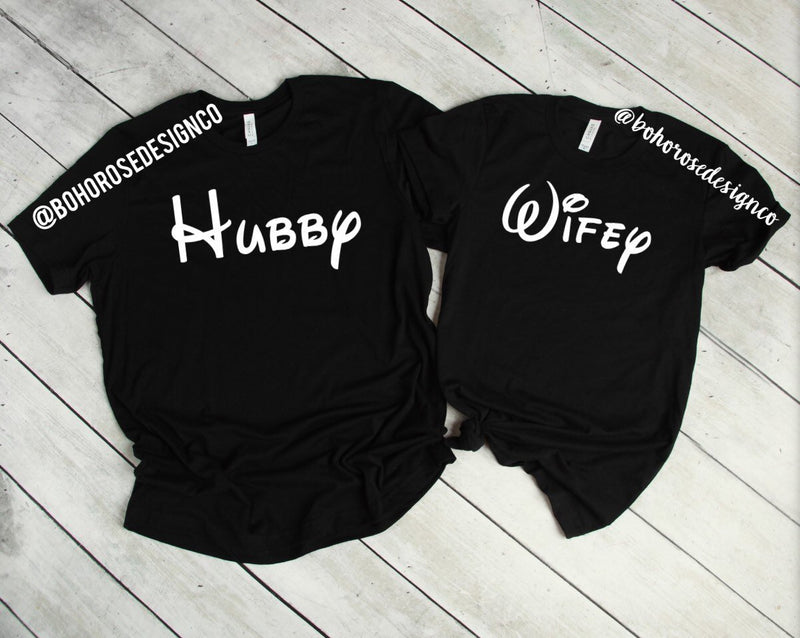 Disney Hubby and Wifey shirts