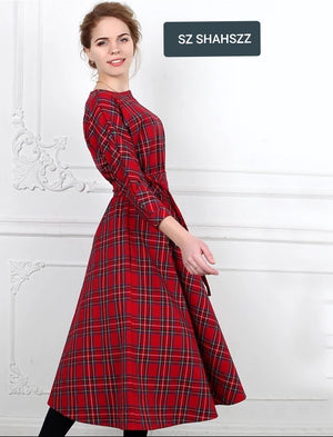 FREE SHIPPING WORLDWIDE _ Classic England Style Red Plaid Dress Women Autumn 3/4 Sleeves O-Neck Sashes A-Line Casual Dress Vintage Midi Party Dresses